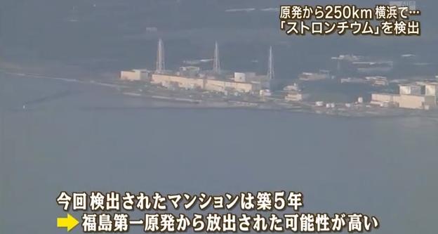 媒體報導,民間從距離福島核電廠250公里遠的橫濱的新建大樓屋頂堆積物裡,發現到185貝克/公斤的鍶。