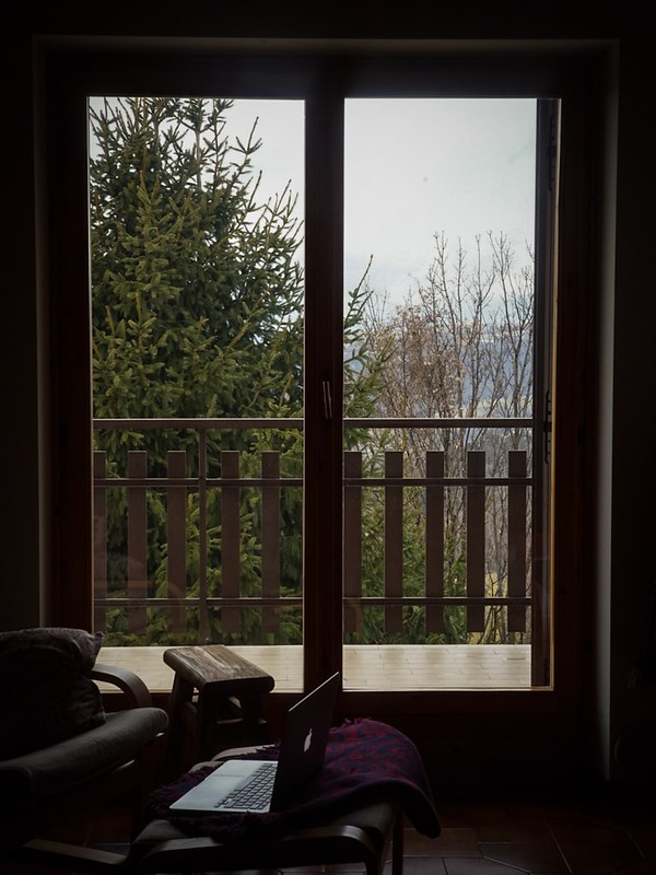 The View from our Writing Retreat… roaring open fire just out of shot.