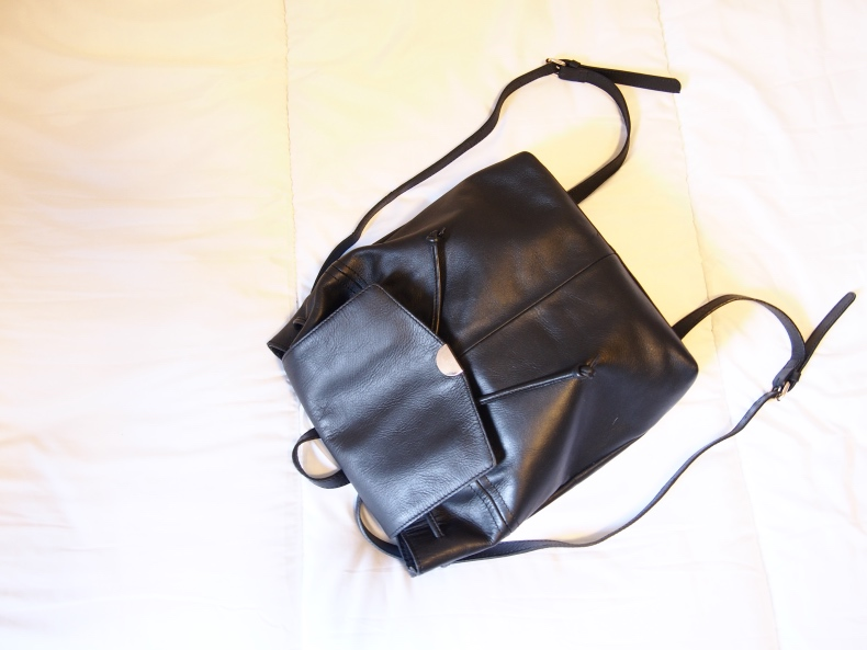 Kiomi leather backpack in black