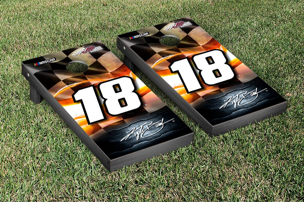 KYLE BUSCH #18 CORNHOLE GAME SET NIGHT LIGHTS VERSION (1)