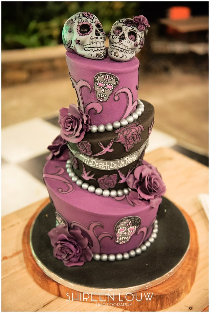 3-tier Mad Hatter style wedding cake with tattoo skulls & … | Flickr