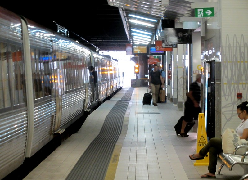 Fortitude Valley railway station - note the gap at most doorways, and the hump to assist with wheelchairs