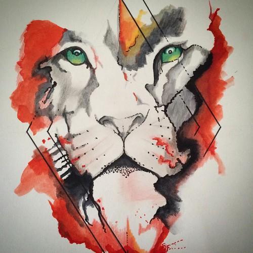 Explosión de color. León #dibujo#draw#leon#lion#acuarel