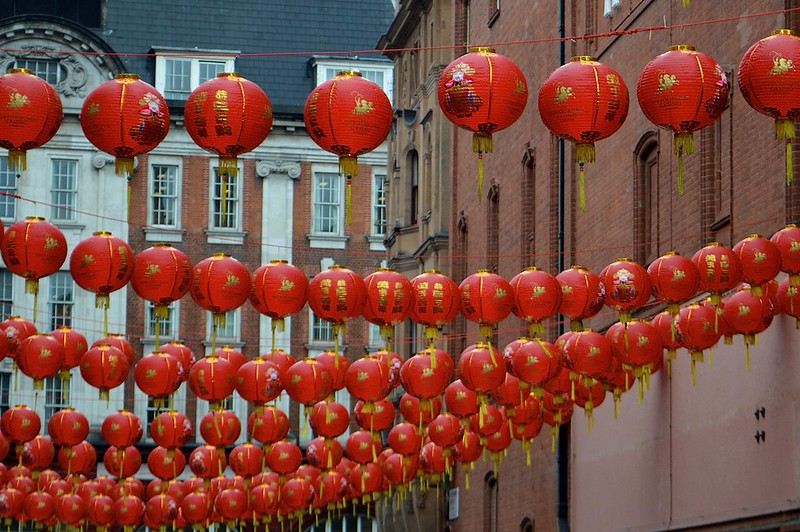 This is a picture of red chinese lantern in london chinatown