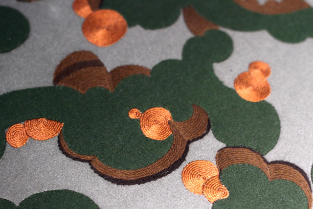 Cloud-like shapes in Japanese hand embroidery , from the Learning From Japan exhibition at Design Museum Denmark