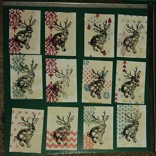 A sample of some hand made linoleum block prints I made for the fam ~ Merry Christmas everyone! #holiday #prints #artisalchemy | by ASF_
