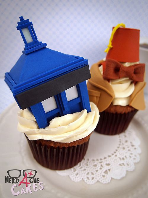Doctor Who cupcakes by Nerdache Cakes