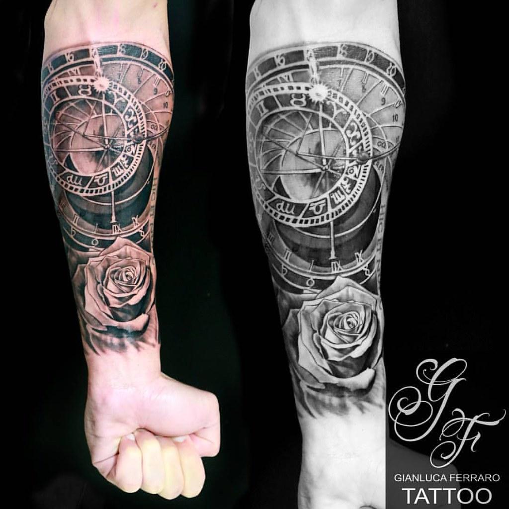 Astronomical Clock Tattoo: Astronomical Clock With Rose... Gianluca Ferraro Tattoo Ar