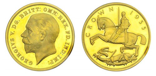 1935 George V Proof Crown in gold