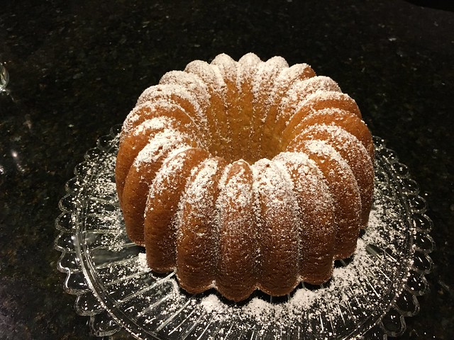Bundt, dusted with powdered sugar