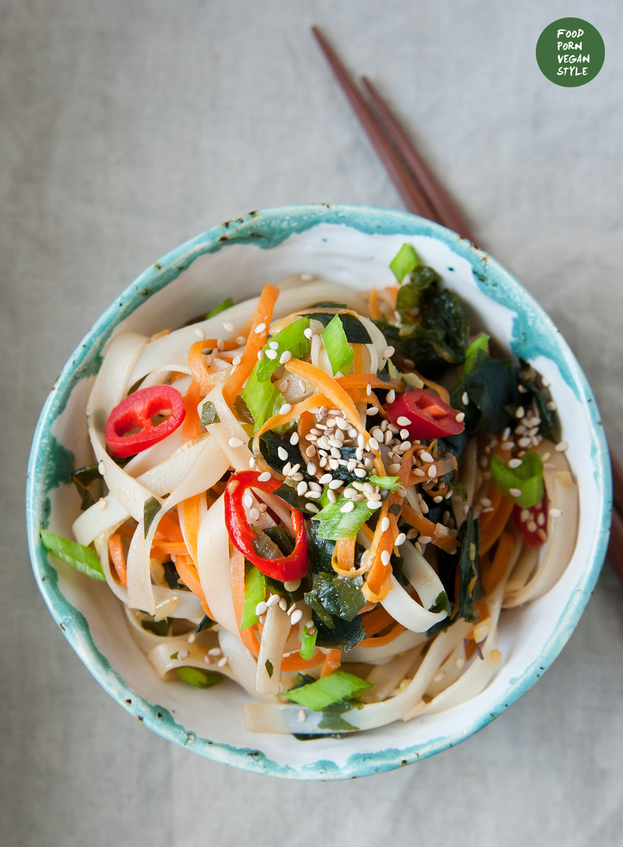 Vegan stir-fry with wakame seaweed, vegetables and rice noodles