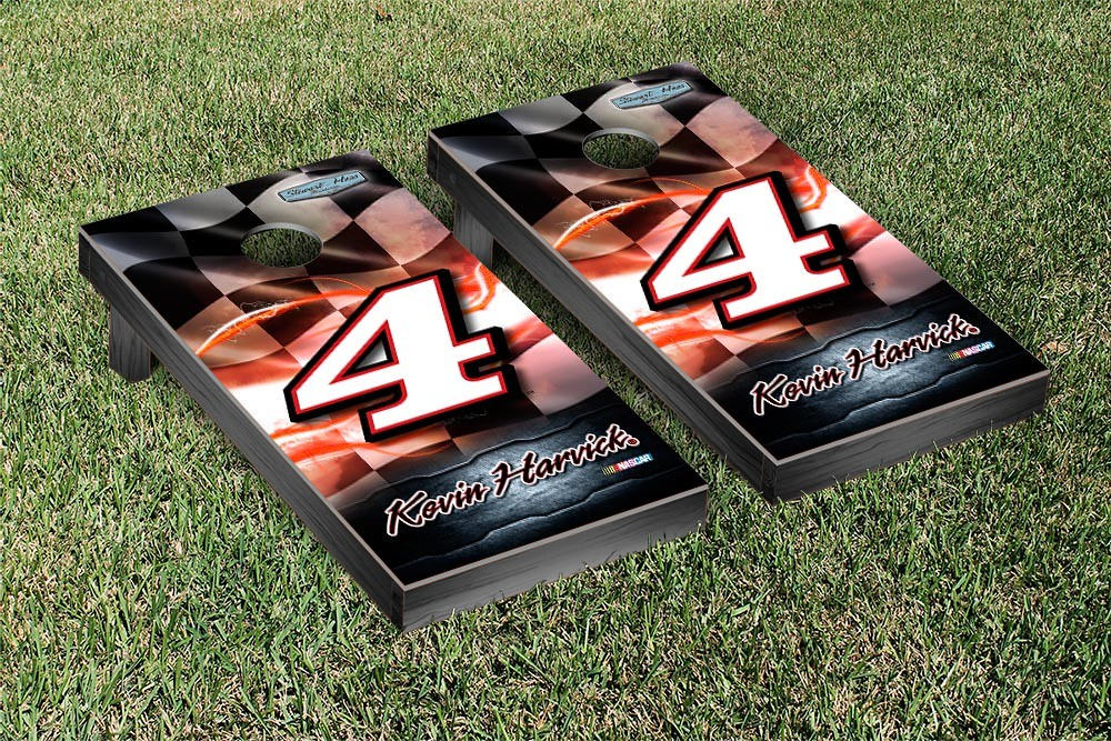 KEVIN HARVICK #4 CORNHOLE GAME SET RACING FLAG VERSION
