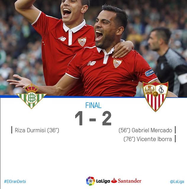 La Liga (Jornada 24): Betis 1 - Sevilla 2
