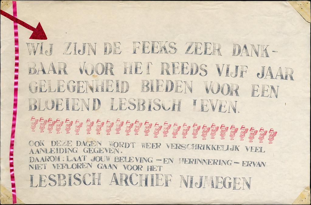 januari 1983, De Feeks viert haar vijfjarig bestaan in kafee De Feeks. Lesbisch Archief Nijmegen is in oprichting, vandaar de oproep om herinneringen te delen.