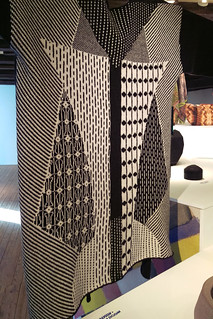 Japanese inspired machine knit cardigan in monochrome geometric design at Form Design Centre Malmö