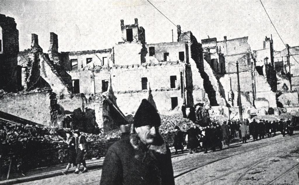 Rue Graniczna en ruine sur une carte postale de Varsovie en période d'occupation.