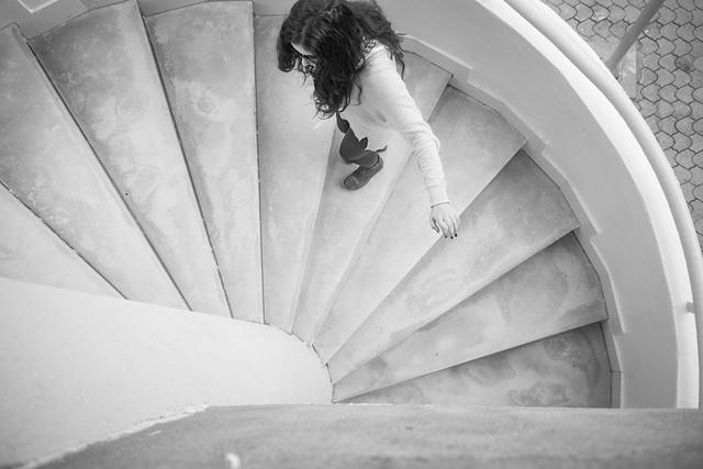 Ibtissam climbing the stairs