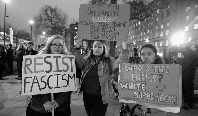 Resist fascism - demonstrators at London's anti-Trump rally.