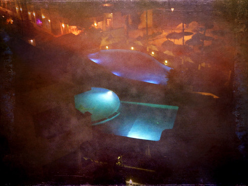 Hotel pools in in Puerto Vallarta at night