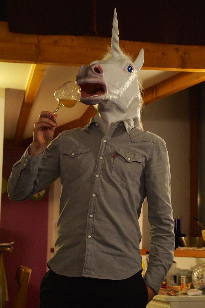 Classy drinking unicorn