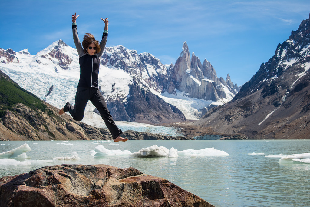 Jumping picture at Laguna Torre