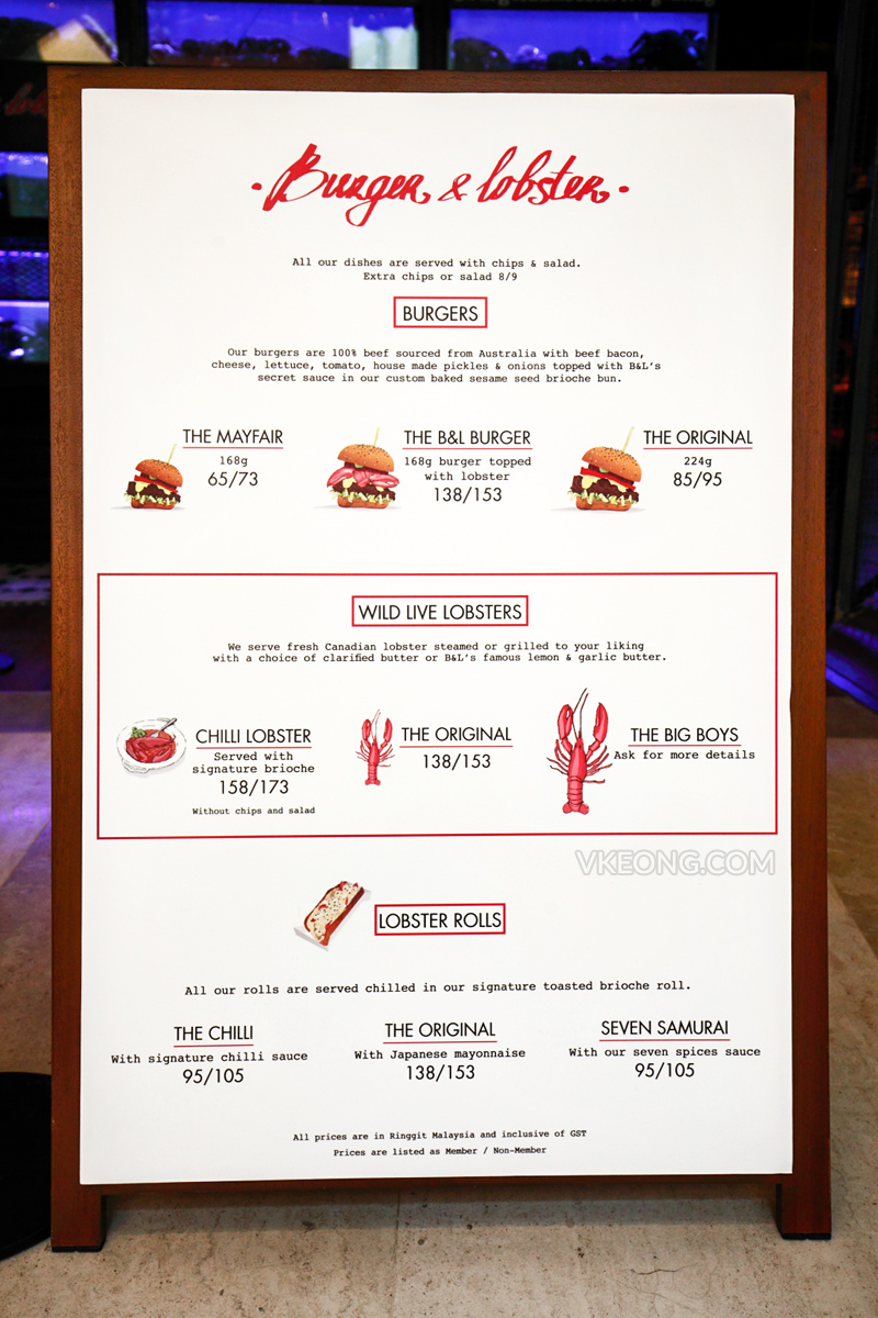 Burger & Lobster Genting Highlands Menu