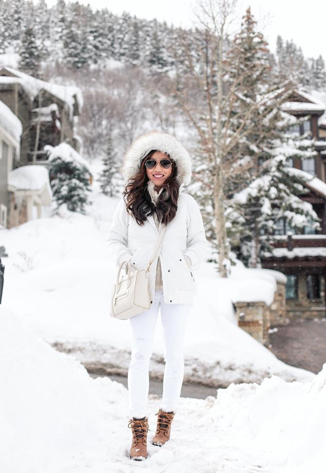 winter white snow bunny outfit apres ski fashion