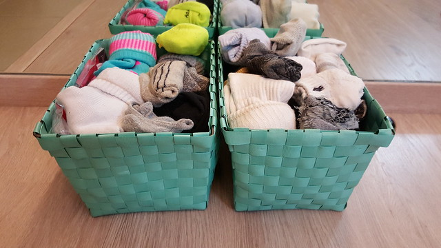 His & her socks, all sorted out neatly with the Daiso woven baskets!