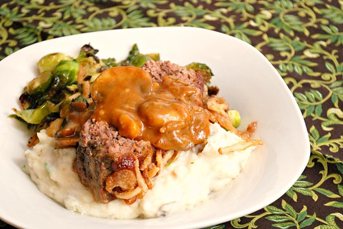 Guinness Meatloaf with Creamy Mushroom Gravy