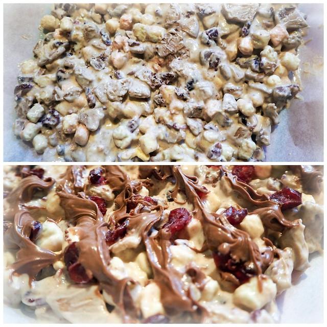 WhiteChocolateChristmasRockyRoad,JouluinenRockyRoadOhje,ChristmasRockyRoad-25495111, christmas, joulu, recipe, resepti, rocky road, valkosuklaa, white chocolate, jouluinen ohje, christmassy, ruoka, food, herkut, delicacy, dried cranberru, kuivatut karpalot, pistaasipähkinät, pistachio nuts, marshmallows, vaahtokarkit, joulupipareita, christmas gingerbread cookies,