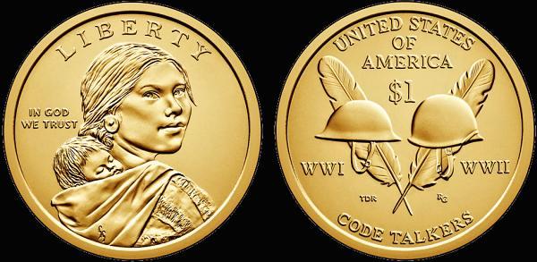 1 Dolár USA 2016, Sacagawea dollar - Code Talkers