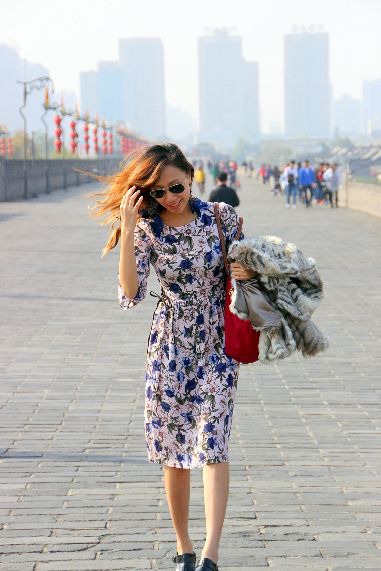 Topshop Autumn Floral Print Tie Side Dress