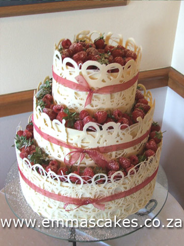 3 Tier Wedding Cake White Chocolate Collars With