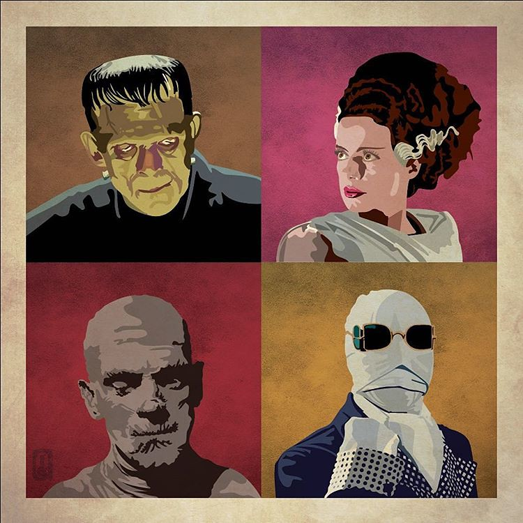 Universal Monsters Frankenstein, Bride, The Mummy & Invisible Man by Ian Skelton