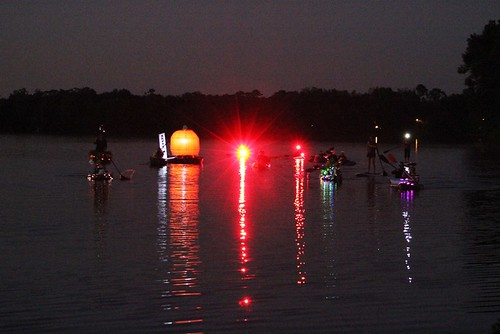 Pumpkin Paddle Parade at night.