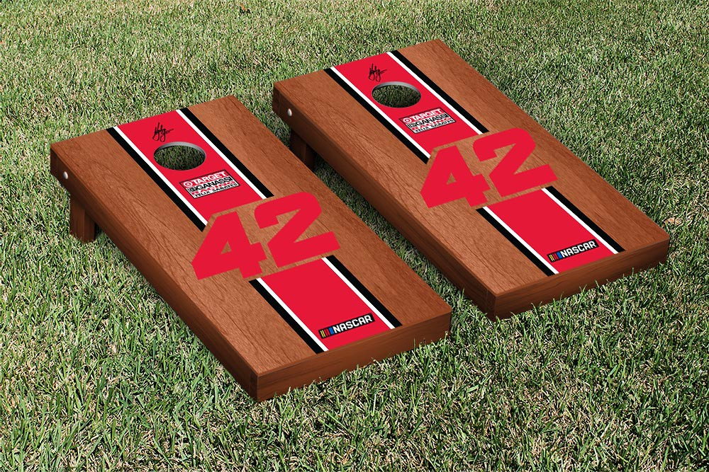 KYLE LARSON #42 CORNHOLE GAME SET ROSEWOOD STAINED STRIPE VERSION (1)