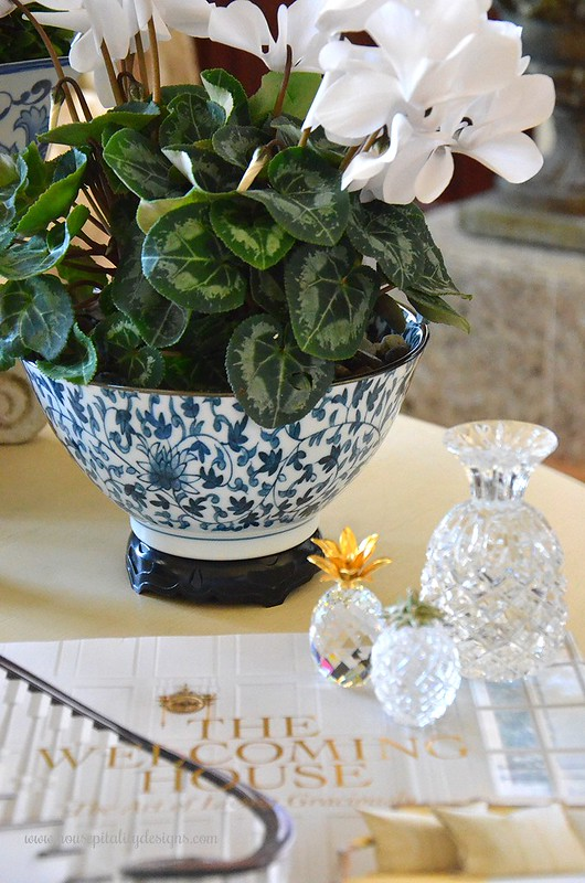Blue and White-Cyclamen-Crystal Pineapples-Housepitality Designs