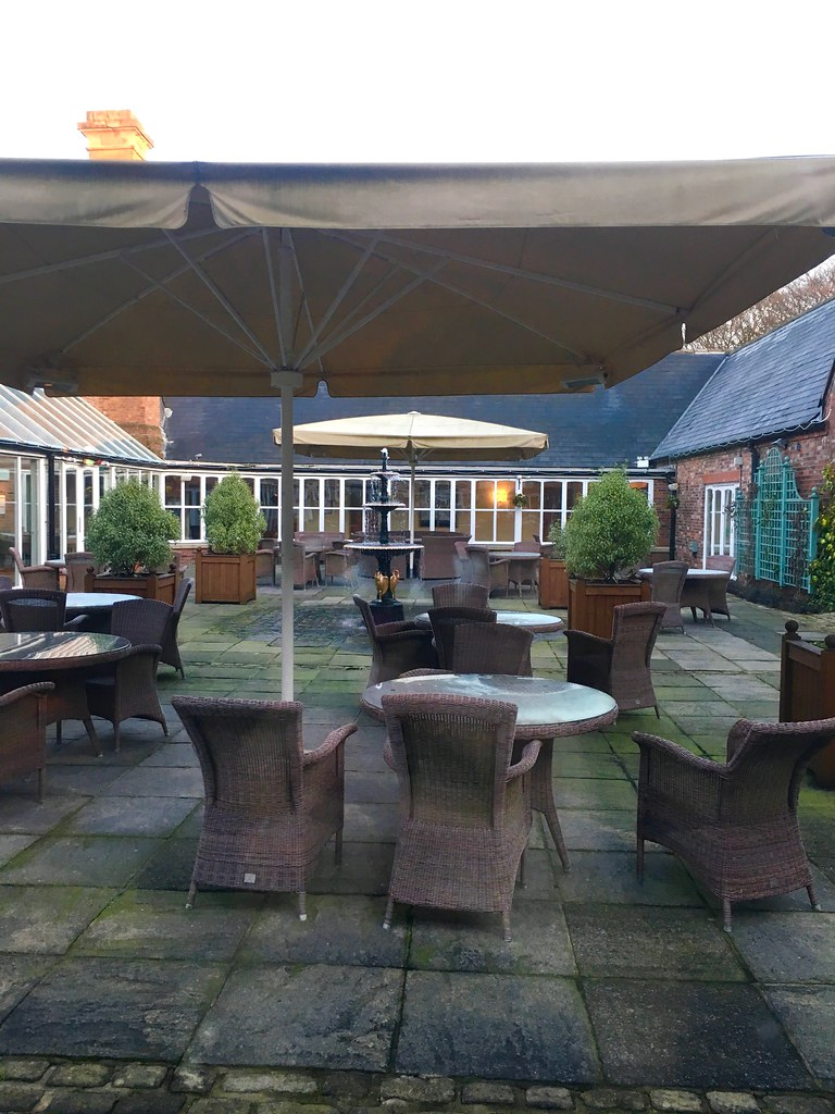 Breakfast at Worsley Park Marriott Hotel grill in the park courtyard