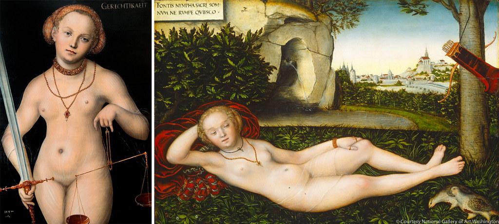 左)《正義の寓意(スティティア)》(1537年、個人蔵) 右)《泉のニンフ》(1537年以降、ワシントン・ナショナル・ギャラリー)
