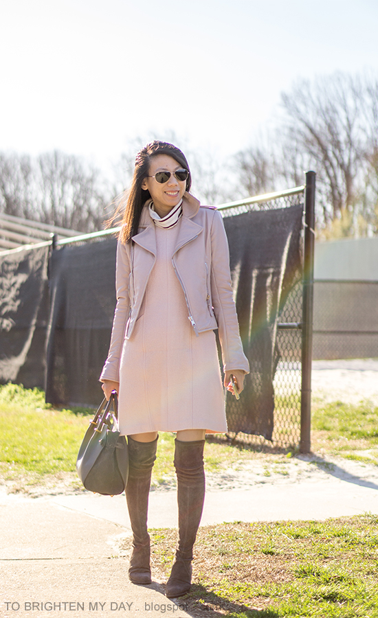 lilac leather jacket, striped turtleneck, pink wool shift dress, gray suede over the knee boots, gray tote