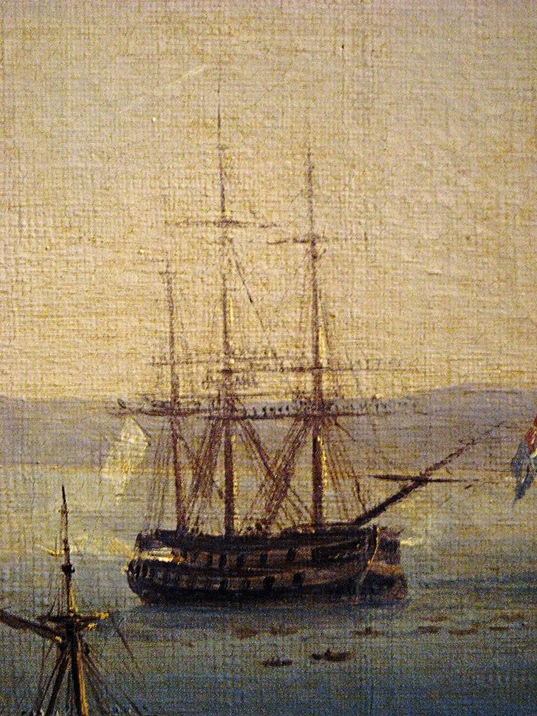 """Ship"" (Detail) - ""The fleet, transporting the sovereigns of Sardinia, entering the port of Naples"" (1829) by Salvatore Fergola (Naples 1796-Naples 1874) - Exhibition ""Fergola. Lo splendore di un Regno"", up to April 2, 2016 at Museum Zevallos in Naples"