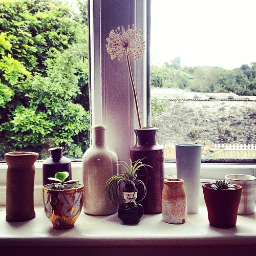 Window sill life #shelfie #ceramics #airplant | by jane cabrera