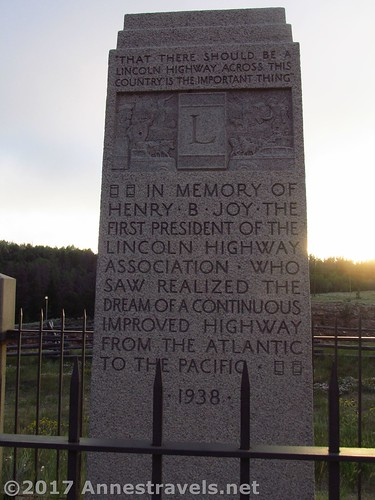 Plaque honoring the first president of the Lincoln Highway Association at the Summit Rest Area / I-80 High Point between Cheyenne and Laramie, Wyoming