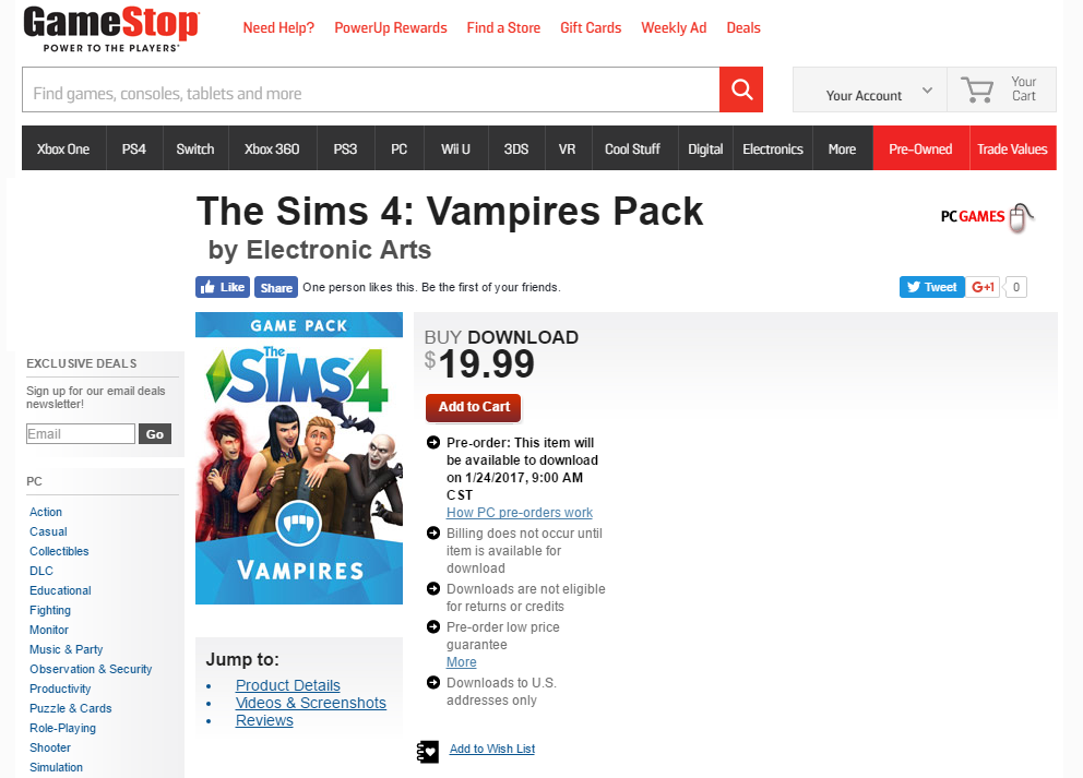 gamestop vamps