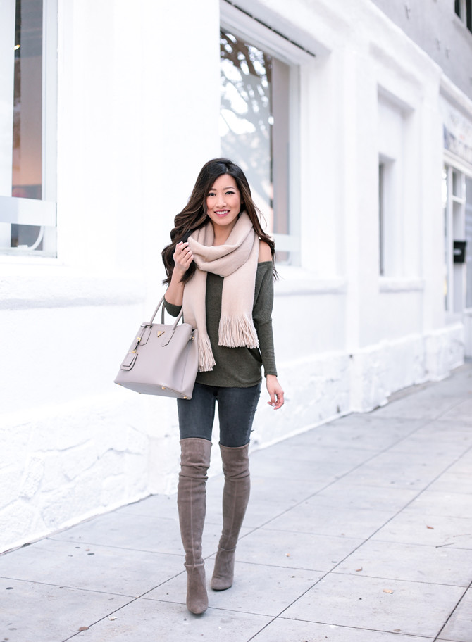 tunic tee stuart weitzman highland boots winter outfit extra petite