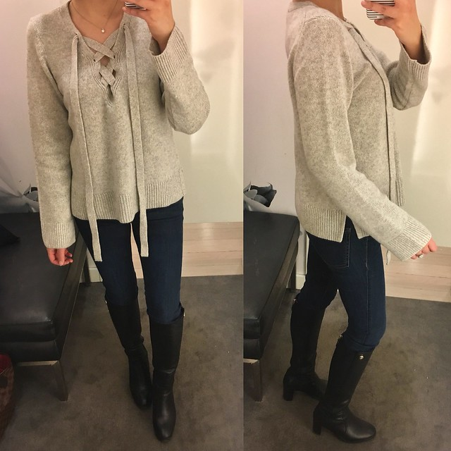 Ann Taylor Wool Cashmere Lace Up Sweater, size XS regular
