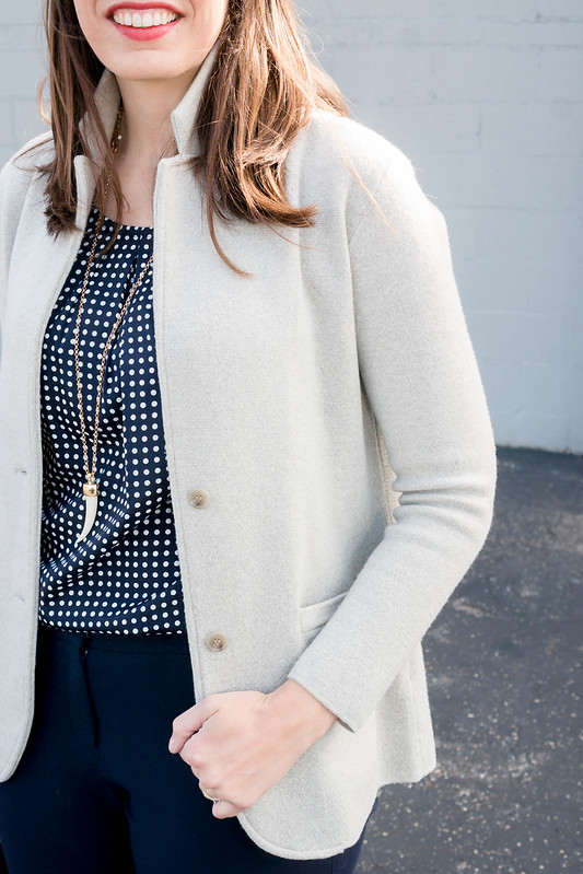 gray J.Crew sweater blazer + Target navy white polka dot blouse + navy Loft sunglasses + navy Loft pants; spring work outfit | Style On Target blog