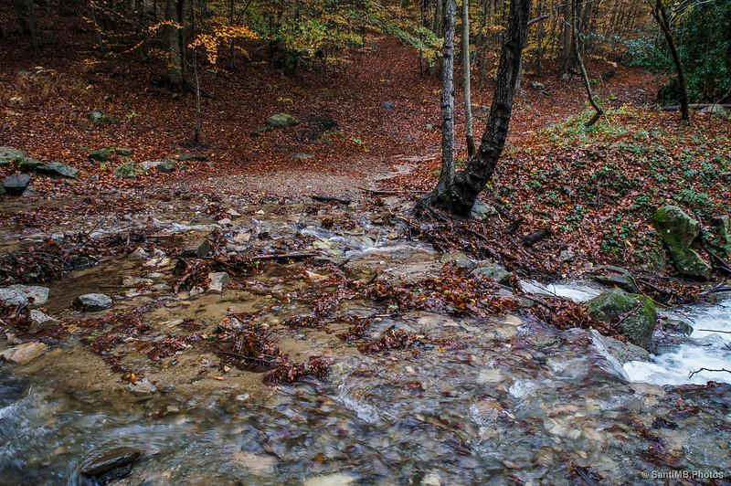 Un torrente cargado de agua que hay que cruzar