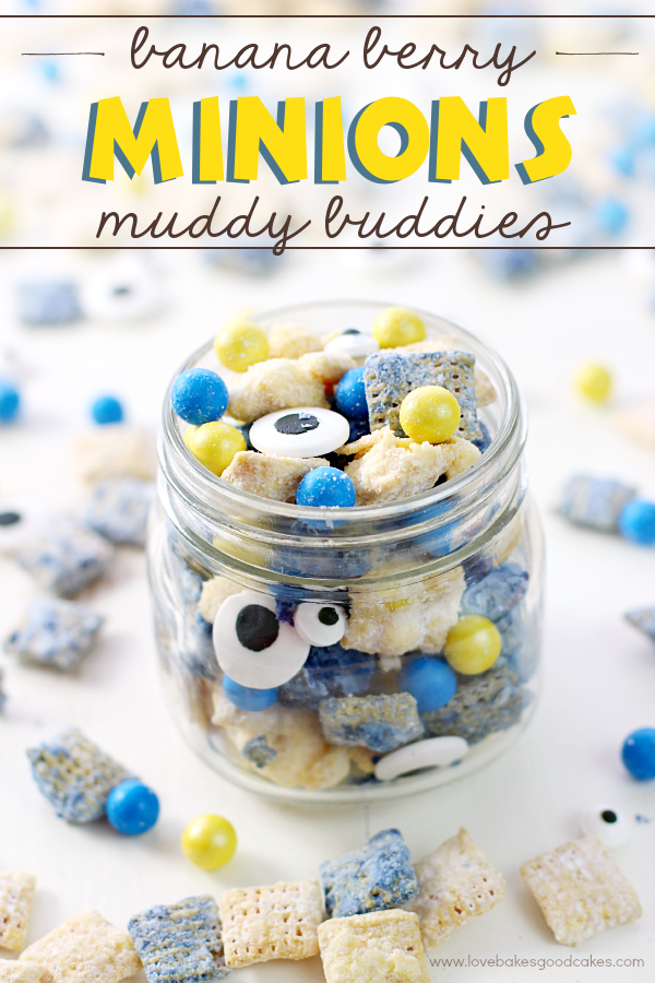 Banana Berry Minions Muddy Buddies in a clear jar.