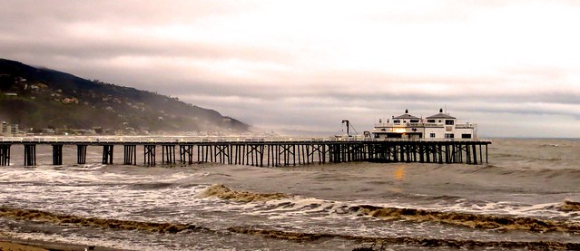 rainy dusk at the malibu pier